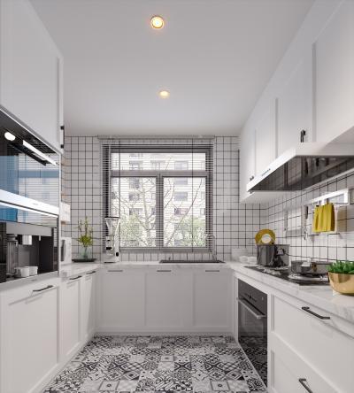 北欧简约风格厨房 橱柜 蒸箱烤箱高柜 吊柜 矮柜