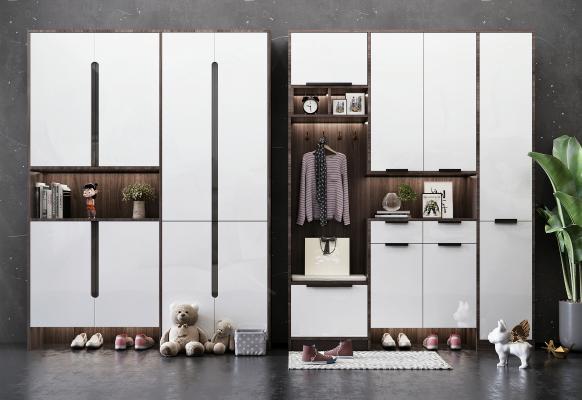 现代风格鞋柜组合 装饰品 摆件