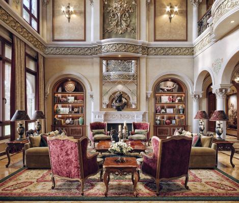 欧式古典别墅客厅 会客厅
