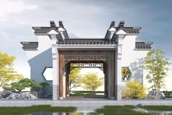 中式庭院门