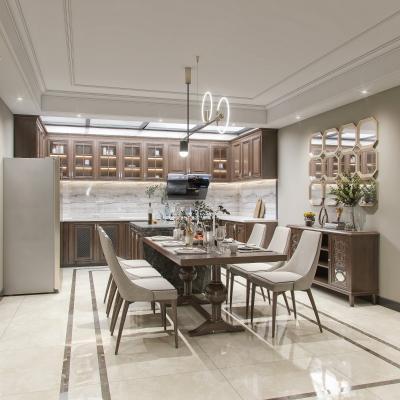 美式轻奢餐厅开放式厨房 餐桌 冰箱