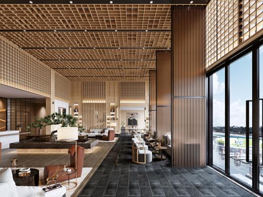 新中式酒店大堂接待厅