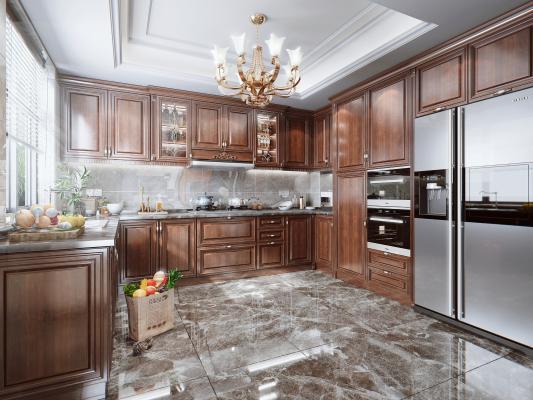 美式廚房 實木櫥柜 油煙機 灶具