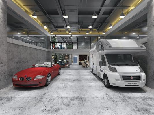 现代风格汽车专卖店 房车 跑车