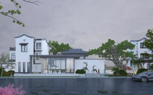 新中式别墅外观 山庄