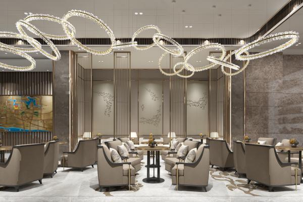 新中式风格酒店大堂 酒店休息区