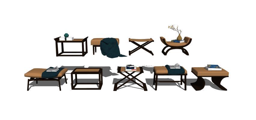 新中式矮凳凳子组合