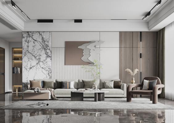 现代客厅 沙发组合 茶几 休闲椅 壁灯 装饰品