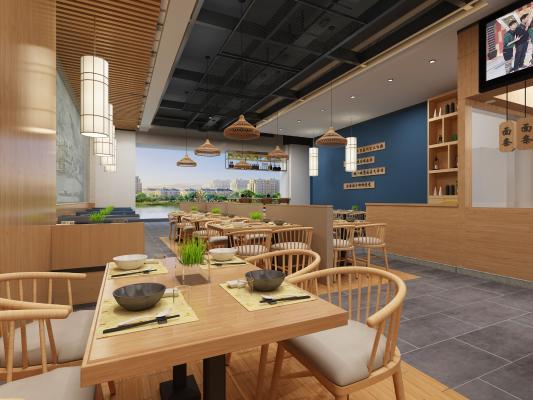 新中式餐厅 吊灯 挂画