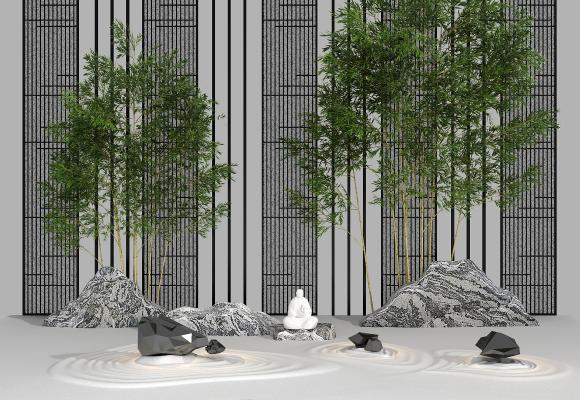 新中式竹子假山旱景 景观园艺小品