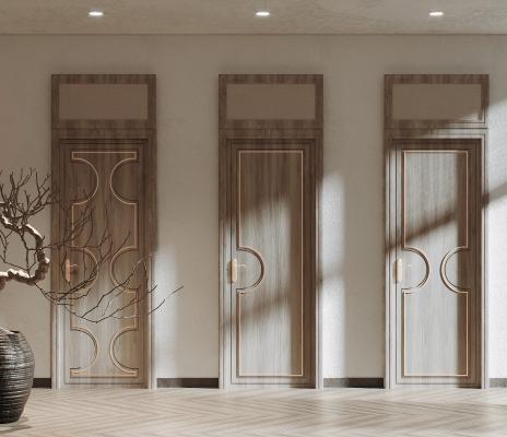 新中式门组合 枯树盆景