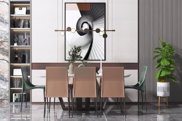 现代餐桌椅组合 书柜 艺术吊灯 挂画