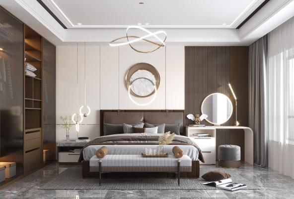 现代轻奢卧室 吊灯 床 壁灯 梳妆台 衣柜 墙饰 床尾凳