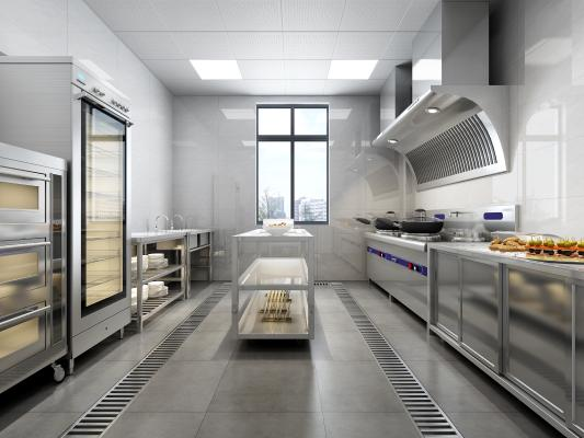 现代酒店厨房 餐饮厨房 后厨 消毒柜