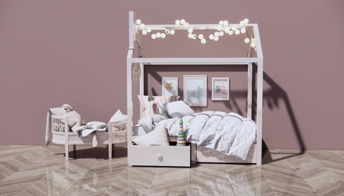 现代儿童床 婴儿床 装饰画