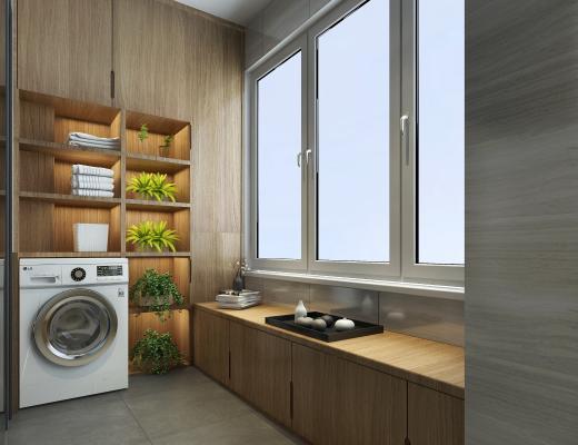 新中式阳台 茶具 洗衣机