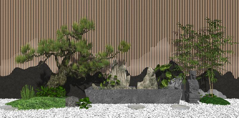 新中式庭院景观小品 景观树 石头