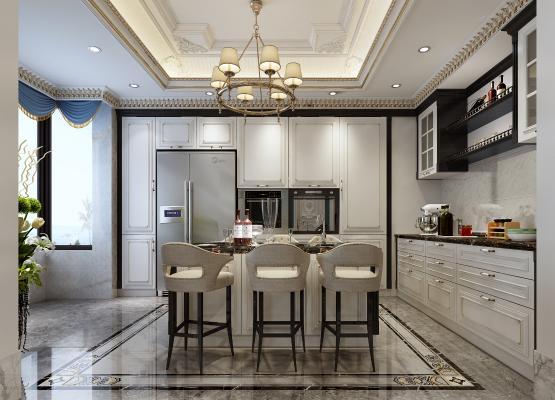法式厨房 橱柜 吊顶 中岛 咖啡机 厨房用品 吊柜 窗帘 冰箱