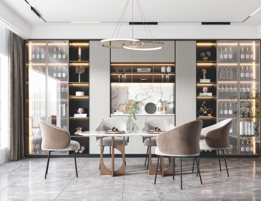 现代餐厅 餐桌 餐椅 吊灯 酒柜 装饰品