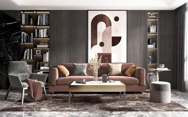 现代沙发茶几组合 沙发 茶几