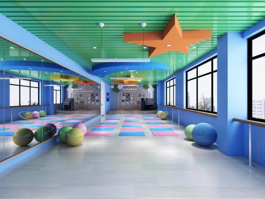 现代舞蹈教室 舞蹈垫 球