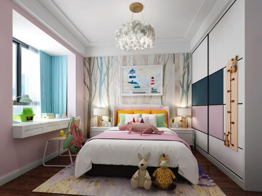 现代儿童房 卧室 床 吊灯