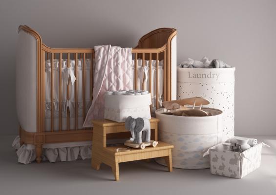 现代风格装饰架,收纳筐,婴儿床,摇篮,儿童用品
