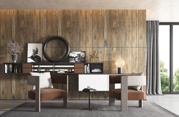 现代单人沙发边几组合