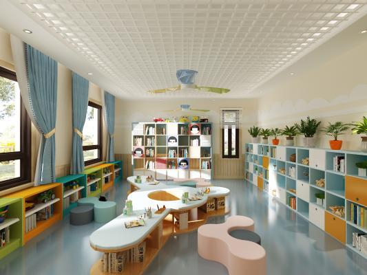 现代幼儿园阅览室 吊灯 挂画