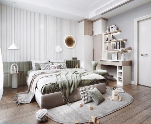 现代风格卧室 书桌 双人床