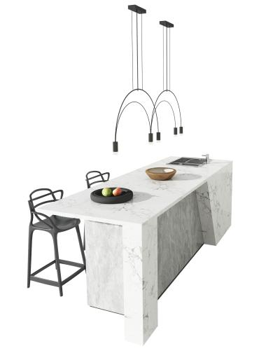 现代吧台吧椅椅组合 吊灯