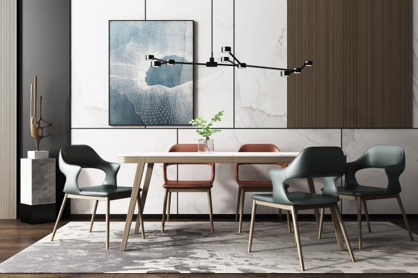 现代轻奢餐桌椅吊灯组合