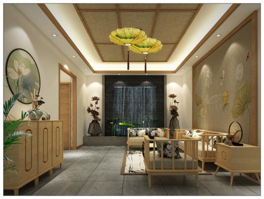 新中式民宿鲜花大厅