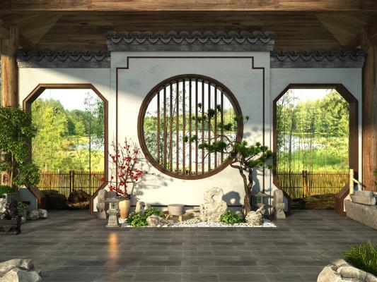 新中式景观小品 石头松树