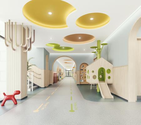 现代幼儿园 走廊 楼梯