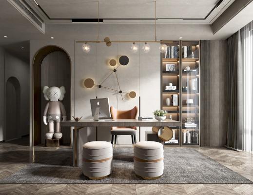 现代书房 书桌 椅子