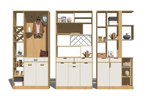 现代实木酒柜 鞋柜 装饰柜组合