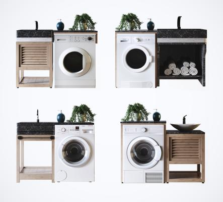 现代阳台洗衣机 伴侣洗手台 橱柜组合