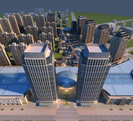 现代城市街道 高楼大厦 建筑外观 城市鸟瞰规划 办公楼