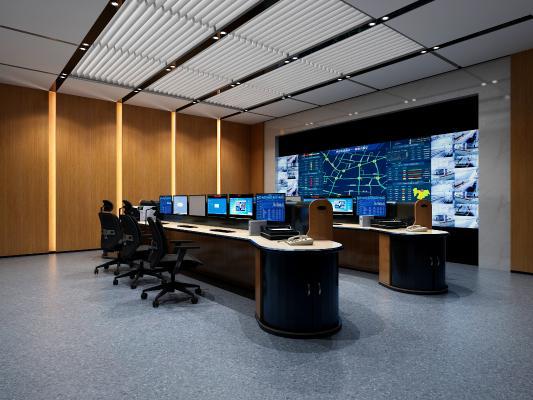 现代监控室 电子显示屏 办公桌椅
