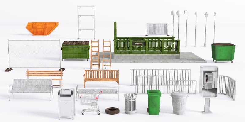 现代工业设备 垃圾桶 座椅