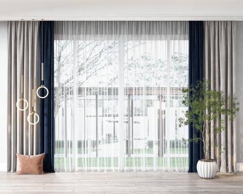 现代窗帘 抱枕 盆栽