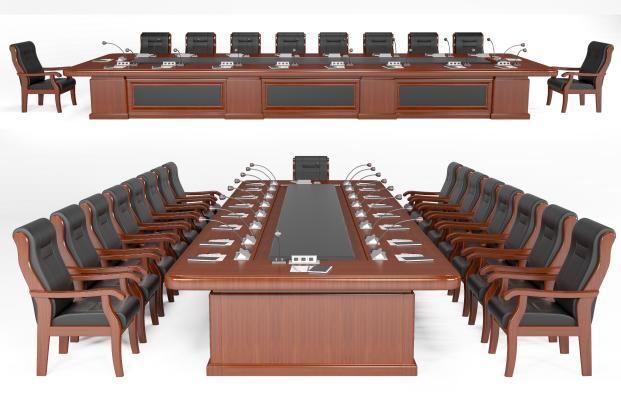 现代会议桌椅组合 洽谈桌椅组合 长条形桌椅