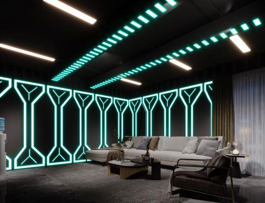 现代科幻网咖 休息室包厢 霓虹灯吊灯 窗帘 沙发 单人沙发 矮凳 太空舱