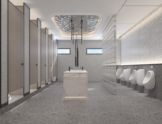 现代公共卫生间 小便池