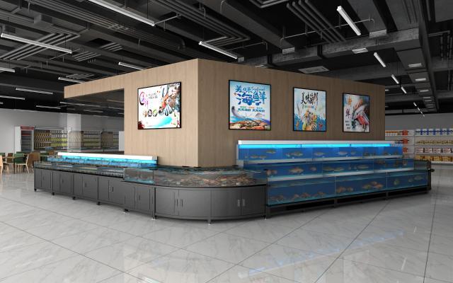 现代商场超市 水产区 海鲜