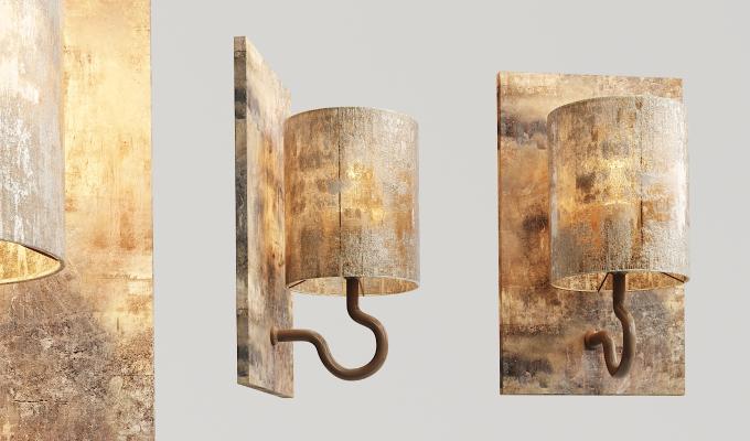 工业风实木玻璃壁灯