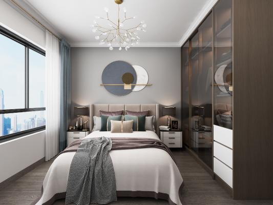 现代轻奢卧室 吊灯 墙饰