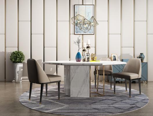 现代餐厅 餐桌 餐椅 边柜