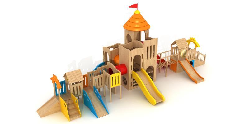 现代木质滑梯 儿童玩具